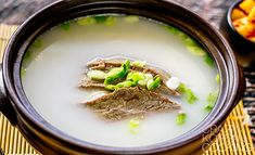 Seolleongtang (ox bone soup) is one of the most popular soups served in restaurants in Korea. The soup is renowned for its milky white color, remarkably thick taste and its richness in protein and calcium. It's eaten for breakfast, lunch and dinner throughout the year. It's especially popular at home during the winter.