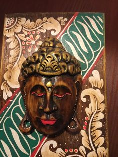 Buddha Head Wooden Painted Carved Hinged Box