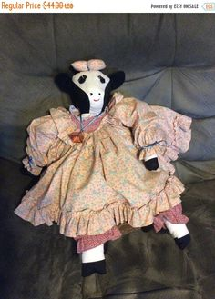 August Sales Soft sculpture cow doll hand sewn hand made by EMTWTT
