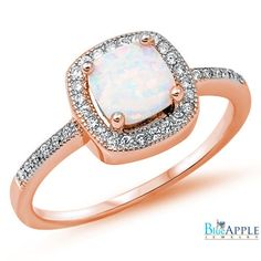 Halo Solitaire Accent Wedding Engagement Ring 1.42CT Princess Cut Lab White Opal Round Russian CZ Rose Gold Over Solid 925 Sterling Silver