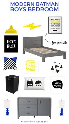 Modern Batman Theme Boys Room | Decorate your little superhero's room in this modern and bright Batman boys room. Click through for all the details and a FREE batman wall art download!