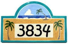 Cly Plaques Tropical Beach House Number Plaque 179 00 Houses