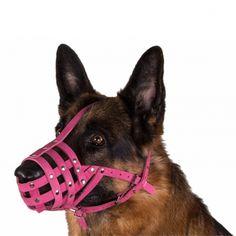 German Shepherd Dog Muzzle Secure Genuine Leather Basket Pink