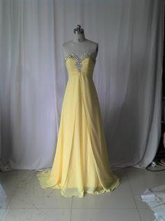 Sweetheart Lemon Prom Dress ,Long Prom Dress,Chiffon Prom