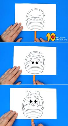 Bunny in Easter Basket Craft activities for toddlers religious Bunny in Easter Basket Craft Easter Arts And Crafts, Egg Crafts, Craft Stick Crafts, Preschool Crafts, Bunny Crafts, Easter Bunny Colouring, Bunny Coloring Pages, Police Crafts, Easter Bunny Decorations