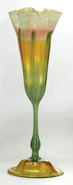"** Tiffany Studios, New York, Iridescent Favrile Glass ""Floriform"" Vase, 1898-1900."