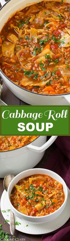 Cabbage Roll Soup - so much easier than stuffing cabbage rolls! This soup is so hearty and filling and totally delicious!