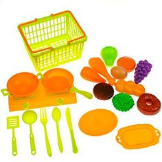 Pretend Play Food Toy Set for Kids - Shopping / Grocery Basket with Kitchen Stove and Appliances Toy Accessories Playset ( BPA FREE ) >>> Details can be found by clicking on the image.