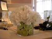 white hydrangea with limes
