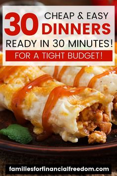 Check out these cheap meals under $5! Find super easy and cheap meals! Find cheap meals for dinner! Find 30 easy and cheap dinner recipes! These are great ideas for quick cheap meals on a budget! Perfect family meals on a budget you'll love! #dinner #easydinner #familydinner #cheapdinners #cheapmeals #meals #savemoney #money #family #save #frugal #budget #30minutemeals #mealprep #easymeals Cheap College Meals, Cheap Meals For 5, Cheap Food, Inexpensive Meals, Cheap Recipes, Cheap Dinners, Healthy Recipes, Easy Family Meals, Frugal Meals