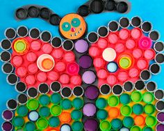 upcycling projects for kids with steps | Monthly KidART Resolution Plastic Bottle Cap Art / Educational ...