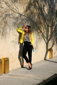 Black and Yellow… (Look Formal Casual, Yellow Blazer, Minimal Chic, Healthy Summer, Style And Grace, Black N Yellow, Hijab Fashion, Latest Fashion Trends, Breakfast Recipes