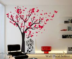 Butterfly Wall Decals - Tree Wall Decals - Tree With Butterflies - Red Wall Decals - Vinyl Stickers Dandelion Wall Decal, Butterfly Wall Decals, Childrens Wall Decals, Vinyl Wall Decals, Coffe Table Design, Wall Decor, Room Decor, Wall Art, White Dandelion