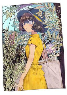 Twitter: incoty 「植物園」/「堀泉インコ」[pixiv] #illustration#original#greenhouse#shorthair#eyepatch#dress#plant#botanicalgarden