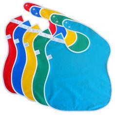 Grandes baberos de bebé a prueba de agua para niños pequeños con botones a presión (paquete de 5, colores surtidos)