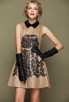 Morpheus Boutique  - Beige Sleeveless Paillette Pleated Dress
