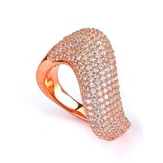 Sterling Silver Rose Gold Plated and Cubic Zirconia Swirl Ring: Rings