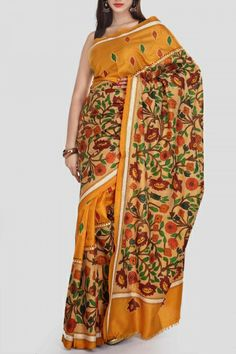 Satin Sheen & Gold Hand Brush Painted Kantha Silk Saree