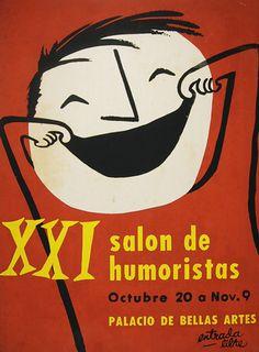 1955 Cuba Cartoon Art Festival Poster
