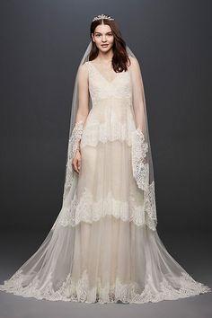 Banded Eyelash Lace Layered Tank V-Neck Wedding Dress by Melissa Sweet available at David's Bridal