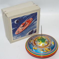 Blomer & Schüler Germany Vintage Apollo Tin Friction Spaceship Flying Saucer NR 562 Mint in Box