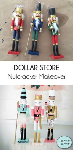 I love this craft. Seriously - if you have a girls group or a little bit of time with your sister - you must must MUST makeover some dollar store nutcrackers. If you don't have a sister, a soul sister or blood sister or whatever....a brother will do. Just make sure you feed him first :) This is...