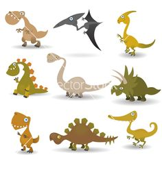 Dinosaurs set vector on VectorStock®