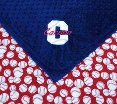 Baby Boy Blanket, Baseball and Navy Minky, Personalized Minky Blanket