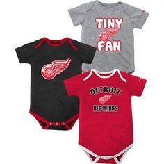 Reebok Detroit Red Wings Newborn 3-Piece Creeper Set