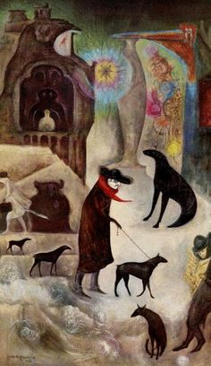 Leonora Carrington(1917ー2011 a British-born Mexican artist, surrealist painter, and novelist)「Around Wall Street or Portrait of Pablo in New York」(1973)
