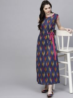 1ebfbe0e9b2 Buy AKS Women Navy Blue & Pink Ikkat Print Maxi Dress - - Apparel for Women  from AKS at Rs. 779