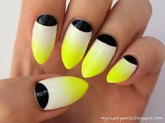 51 New Ideas Nails Yellow Neon French Manicures Burgundy Nails, Yellow Nails, White Nails, Pink Nails, My Nails, Black Nails, Classy Nails, Fancy Nails, Trendy Nails