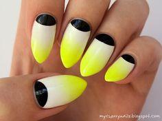 neon, halfmoon, yellow, white, black, nails, nail art, manicure
