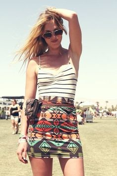 Coachella Festival Style: How hot is this tank and tribal-print mini? She's got her model pose down.