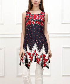Love this Navy & Red Rose Sidetail Sleeveless Tunic by Reborn Collection on #zulily! #zulilyfinds