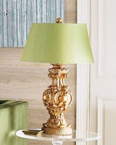 Gold lamp with pale green shade  I want this.