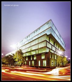 #architectural #render #Office-Building-at-night