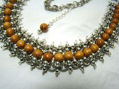 perles de bois et chaine maille