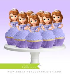 Princess Cupcake Toppers, Superhero Cupcake Toppers, Custom Cupcake Toppers, Cake Pop Toppers, Just about any theme Toppers! Princess Sofia Cupcakes, Sofia Cake, Princess Sofia Birthday, Princess Cupcake Toppers, Sofia The First Birthday Cake, First Birthday Parties, First Birthdays, Superhero Cupcake Toppers, Baby Girl Clipart