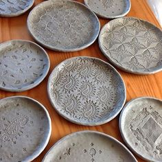 Plates#ceramics #clay#stamps #etsy#pottery