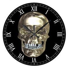 Chrome Skull Round Roman Numerals Clock  Halloween decoration for the home.  http://www.zazzle.com/chrome_skull_round_roman_numerals_clock-256088484643823596?rf=238271513374472230  #halloween  #halloweendecoration