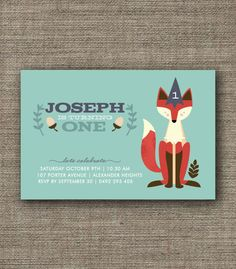 Fox Woodland Party Invitation for kids party, 1st 2nd 3rd 4th 5th birthday, boy or girl - jpeg or pdf printable. $16.00, via Etsy.