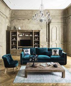#velvet blue - Dandy Divano blu in velluto 3/4 posti -  maison du monde