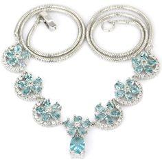 Hi End Elegant S/ Silver Swiss Blue Topaz & CZ acc Necklace 1 Weimaraner Rescue  #Unbranded #Cluster