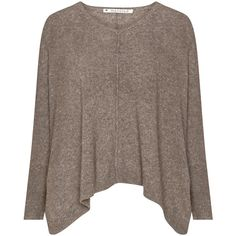 Mansted Taupe-Grey Plus Size Oversized jumper ($160) ❤ liked on Polyvore featuring tops, sweaters, shirts, long sleeved, pull, plus size, plus size shirts, oversized v neck sweater, knit sweater and plus size oversized sweaters