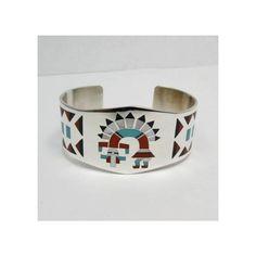 Fred Lolita Natachu Zuni Rainbow Man Yei Inlay Silver Bracelet featuring polyvore women's fashion jewelry bracelets perrie edwards perrie jewelry handcrafted jewellery handcrafted jewelry american indian jewelry hand crafted silver jewelry rainbow jewelry