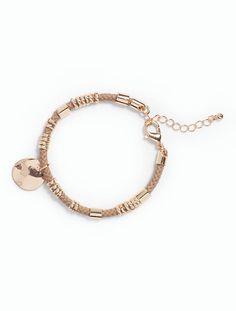 Talbots - Hammered Charm & Cord Bracelet   Jewelry  