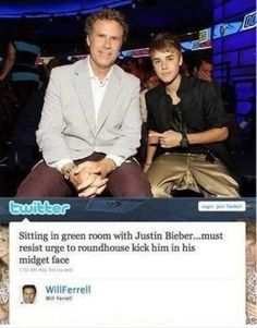 Will Ferrell and Justin Bieber.I love you will ferrell Will Ferrell, Look Here, Look At You, I Smile, Make Me Smile, Roundhouse Kick, Wednesday Humor, Funny Quotes, Funny Memes