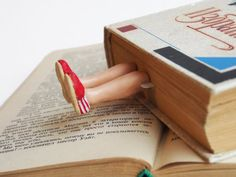 TOMs shoes bookmark. Legs in the book. Red. Funny by MyBookmark
