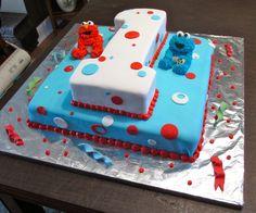 birthday elmo and cookie monster cake Diy Elmo Birthday Party, Sesame Street Birthday Cakes, Monster Birthday Parties, Elmo Party, First Birthday Cakes, First Birthday Parties, First Birthdays, Birthday Ideas, Mickey Party